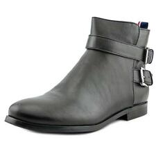 Tommy Hilfiger Julie 3 Women  Round Toe Leather Black Ankle Boot NWOB