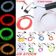 Flexible Neon Chasing EL Wire Light Strip Halloween's Party + 3V/12V Controller