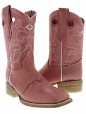 Women's Pink Mid Calf Leather Pull On Cowboy Boots Riding Rodeo Square