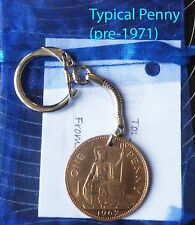 Coin keyring: penny, threepence etc  birthday anniversary gift: choose year lt1a