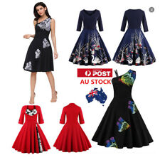 AU Plus Xmas Women 50S 60s Swing Dress Evening Party Cocktail Vintage Dresses
