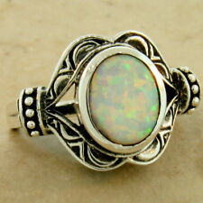 VICTORIAN ANTIQUE STYLE 925 STERLING SILVER LAB AUSTRALIAN OPAL RING,      #1074