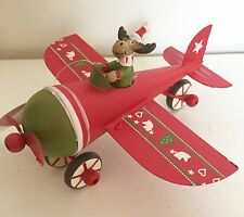 Fun Christmas Decoration Santa & Rudolph Metal Flying Plane Sass & Belle
