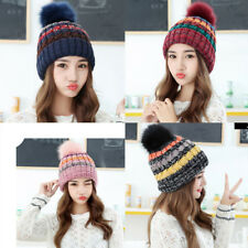 Cable Knitted Bobble Hat Plain Mens Women Beanie Warm Winter Pom Wooly Cap Hot