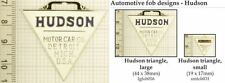 Hudson automobile decorative fobs, various designs & leather strap options