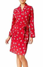 Charter Club Fleece Printed Wrap Robe Red Snowflakes Medium, Large