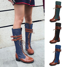 Women Belt Buckle Lace Up Mid-Calf Boots Ladies Denim Patchwork Flat Shoes Party