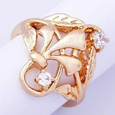 Womens Vintage flower 14K gold filled Clear Crystal  Band Ring Size SZ 6-9