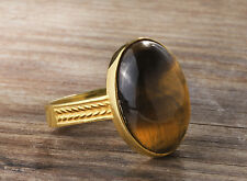 Mens Ring in SOLID 14K Yellow Fine Gold with NATURAL TIGERS EYE Gemstone all sz
