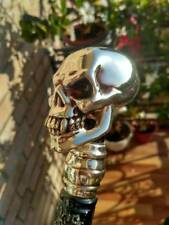 Skull Head Sterling Silver Plated Knob Handle Walking Stick Cane Hiking Staff