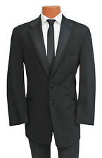 Perry Ellis Wool Black Tux Vail 2 Button Tuxedo Package with Pants Vest & Tie