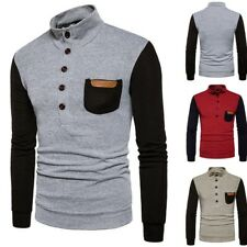 Mens Slim Stylish Knitted Sweater Long sleeve Stand Collar Shirts Tops Coat