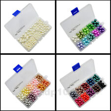 Box Mix Color Satin Luster Round Glass Pearl Beads Assorted for Jewelry Making