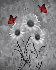 Daisy Flowers Butterfly Wall Art, Red Gray Wall Art Home Decor Matted Picture