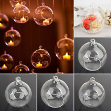 Fashion Clear Glass Round Hanging Candle Light Holder Candlestick 6-12CM