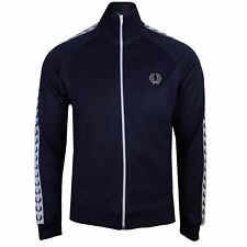 FRED PERRY TRACKSUIT TOP MENS CARBON BLUE LAUREL WREATH TRACK JACKET