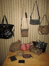 PRE-OWNED lot of 12 COACH jacquard / patent leather HANDBAGS & PURSES - GOOD LOT