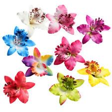 10pcs Silk Orchid Flower Head for DIY Wedding Party Bridal Hair Accessories 9cm