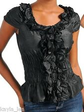 Black Smocked/Ruffle Button Front Cap Sleeve Plus Top