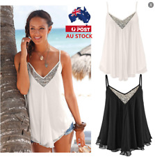 AU Womens Chiffon Sleeveless T Shirt Tops V Neck Sequin Tank Vest Tops Blouse