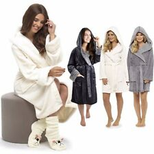 Ladies Soft Luxury Fleece Fur Cable Robe,Sherpa Hooded Dressing Gown, 8-22, Gift