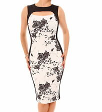 New Black and Ivory Floral Cut Out Keyhole Dress