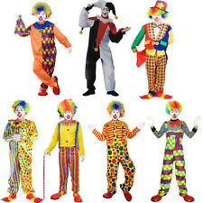 Adult Cirus Clown Costume Mens Outfit Funny Halloween Carnival Party Fancy Dress