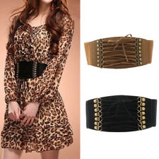 Women Elastic Buckle Wide/Tassel Waistband Retro Lady Corset Stretch Waist Belt