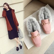 Fashion Womens Winter Square Toe Slip On Loafers Fur Flats Suede Casual Shoes Sz