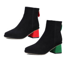 Ladies Elegant Suede Back Zip Unique Chunky Block Heels Pointed Toe Ankle Boots