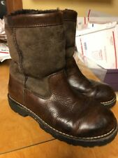Ugg Brooks Men's  Brown Leather Sheepskin Lined Ankle Boots Sz 8 M