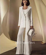 Vintage White Mother of the Bride Outfits Pants Suit Long Sleeve Formal Dresses