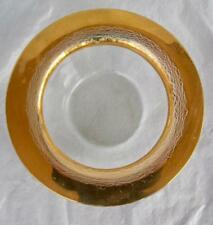 """Annieglass Roman Antique Signed Wine Coaster Candle Holder 24k Gold Rim 8"""" Glass"""
