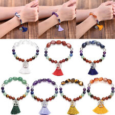 7 Chakra Gemstone Healing Tree Of Life Pendant Bangle Stretch Bracelet Gift