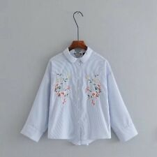 Womens Embroidery Floral Striped Print Long Sleeve Shirt Blouse Tops SML