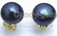 SALE 9-10mm Black Freshwater Flat Pearl Earring with 14k Solid Gold Stud-ear2110