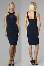 $370 David Meister Beaded Navy Stretch Matte Jersey Halter Cocktail Dress 10
