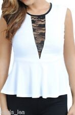 White/Black Lace Inset Sleeveless Peplum Style Tank Top S/M/L