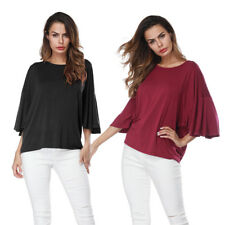 Lady Women Bat Half Sleeve T-shirt Loose Tops Crewneck Blouse Casual Solid Tops