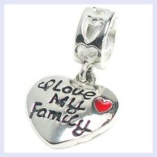 Sterling Silver Love My Family Red Heart Happy Bead for European Charm Bracelet