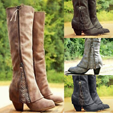 Womens Lace Zipper Over Knee Boots Ladies Block Med Heel Patchwork Shoes Party