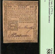 APRIL 3, 1772 PENNSYLVANIA COLONIAL CURRENCY PAPER MONEY NOTE PCGS CHOICE 58