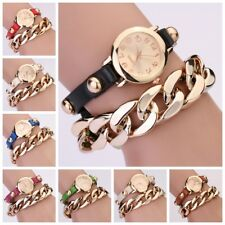 Lady/Women's Decor Rivet Faux Leather chain Analog Quartz Bracelet Wrist Watch
