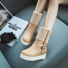 Womens Stylish Platform Wedge Heels Knittign Ankle Boots Preppy Shoes Pumps