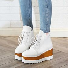Fashion Womens Ankle Boots Platform Lace Up High Wedge Heels Mixed Color Shoes