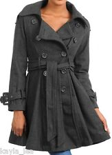 Charcoal Gray Skirted/Trench Jacket/Peacoat/Coat Double Button Front S