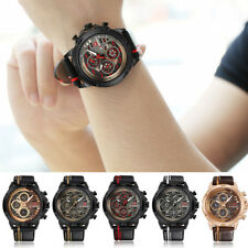 Fashion Men Military Date Stainless Steel Leather Analog Quartz Sport WristWatch
