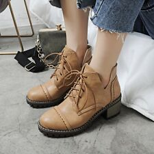 Fashion Retro Womens Lace Up Oxfords Block Heels Mid Heels Ankle Boots Shoes