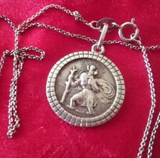 SAINT CHRISTOPHER DETAILED VINTAGE HALLMARKED STERLING SILVER CHAIN,4.5 GRAMS