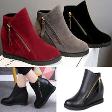 Winter Warm Women Ladies High Hidden Heel Wedge Ankle Boots Zipper Casual Shoes